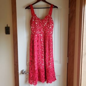 Romwe Red fit and flare lace cami dress, size L
